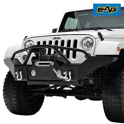 EAG 07 18 Jeep Wrangler JK Black Full Width Front Bumper W/OE Fog