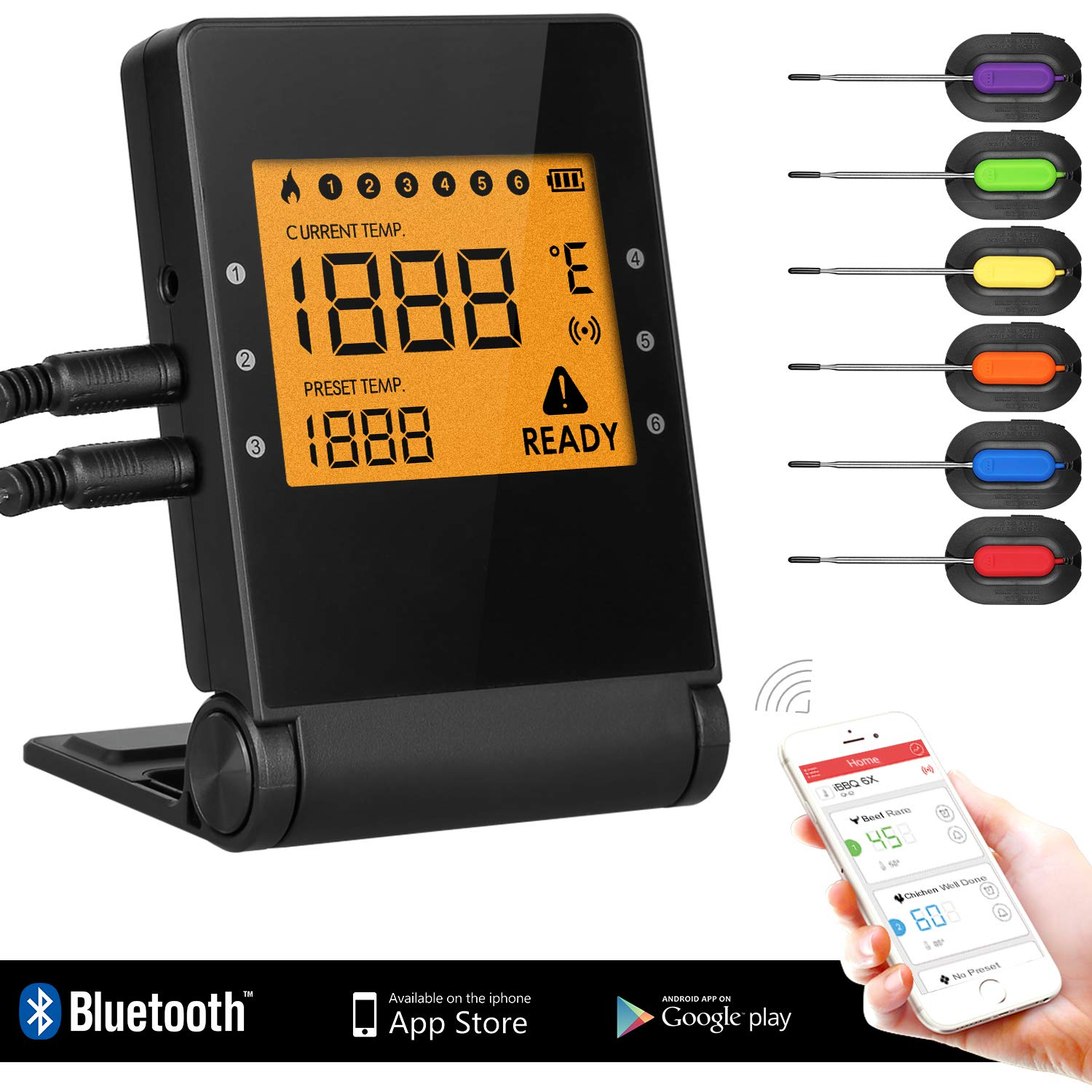 Bluetooth BBQ Meat Thermometer, Wireless Grilling Cooking Food Thermometer with APP for Smoker Kitchen Oven, 6 Stainless Steel Probes, Support iOS & Android