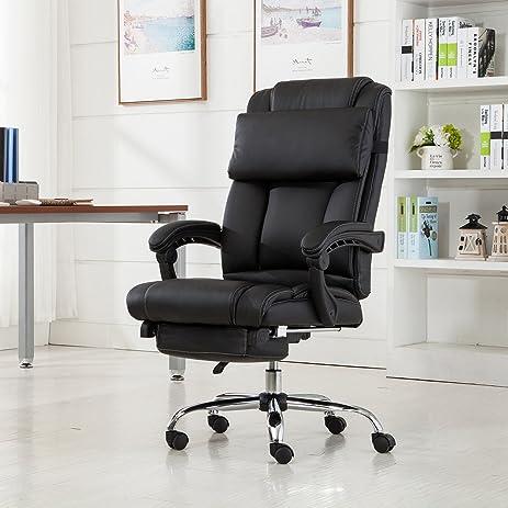 Belleze Executive Reclining Office Chair High Back PU Leather Footrest Armchair Recline w/ Pillow - & Amazon.com: Belleze Executive Reclining Office Chair High Back PU ... islam-shia.org