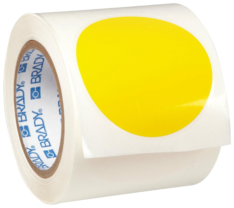 Brady ToughStripe Nonabrasive Dot Shaped Floor Marking Tape, 3.5' Diameter, Yellow, Prespaced (Pack of 350 Per Roll) 3.5 Diameter 104523