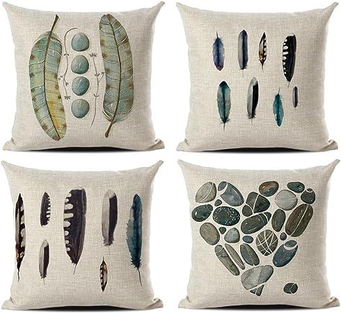 JOTOM Funda de cojín de Lino de algodón Suave sofá Coche Funda de Almohada Cuadrada Inicio decoración de la Cama 45 x 45 cm, Juego de 4 (Pluma 1): Amazon.es: Hogar