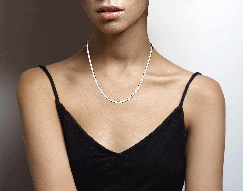 MiaBella 925 Sterling Silver Italian Solid 3.5mm Flat Herringbone Chain Necklace Men Women 16 18 20 22 24 26 30