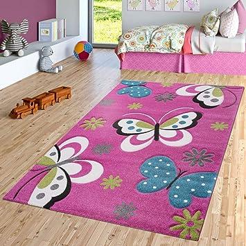 TT Home Papillon Tapis pour Chambre d\'enfant Motif Papillons Fuchsia ...
