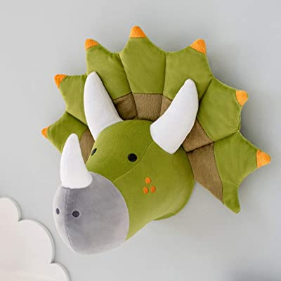Dinosaur stuffed animal head wall decor - Dinosaur decorations for boys room - Taxidermy Animals Wall Mounts Room Decor for boys - Plush dinosaur head wall mount: Handmade