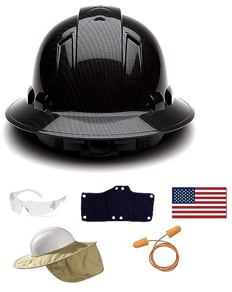 Pyramex Safety Full Brim Hard Hat Adjustable Ratchet 4 Pt Suspension  Graphite Pattern Black Shiny + c58924e872f4