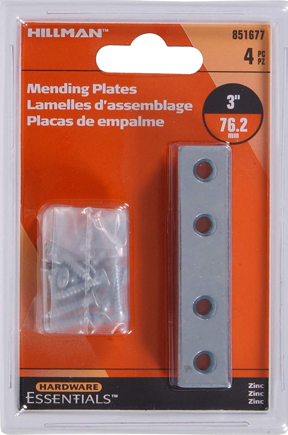 The Hillman Group 851677 3 x 5 8 Inch Mending Plate Zinc Plated