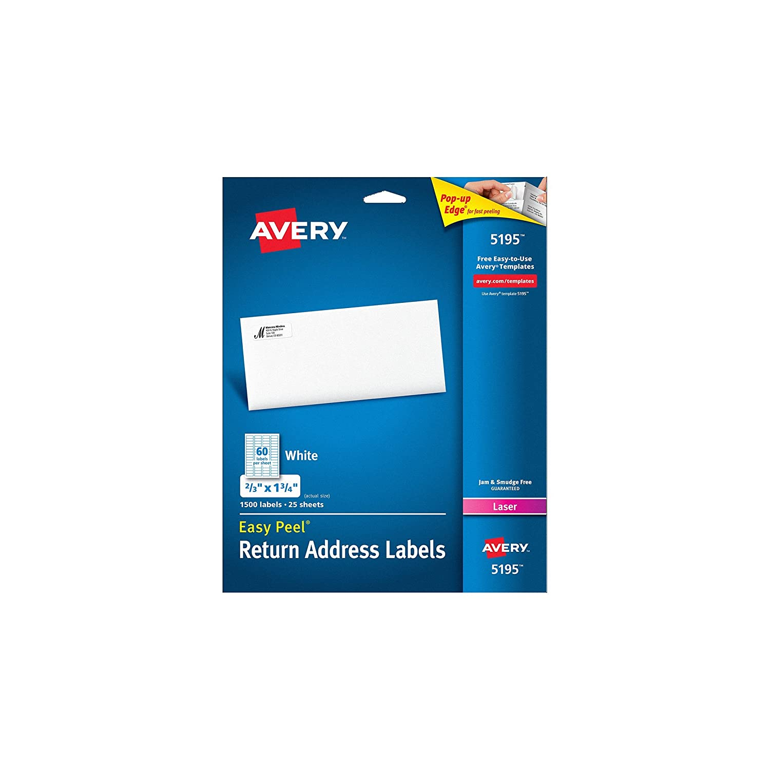 Amazon.com : Avery Easy Peel Return Address Labels for Laser ...