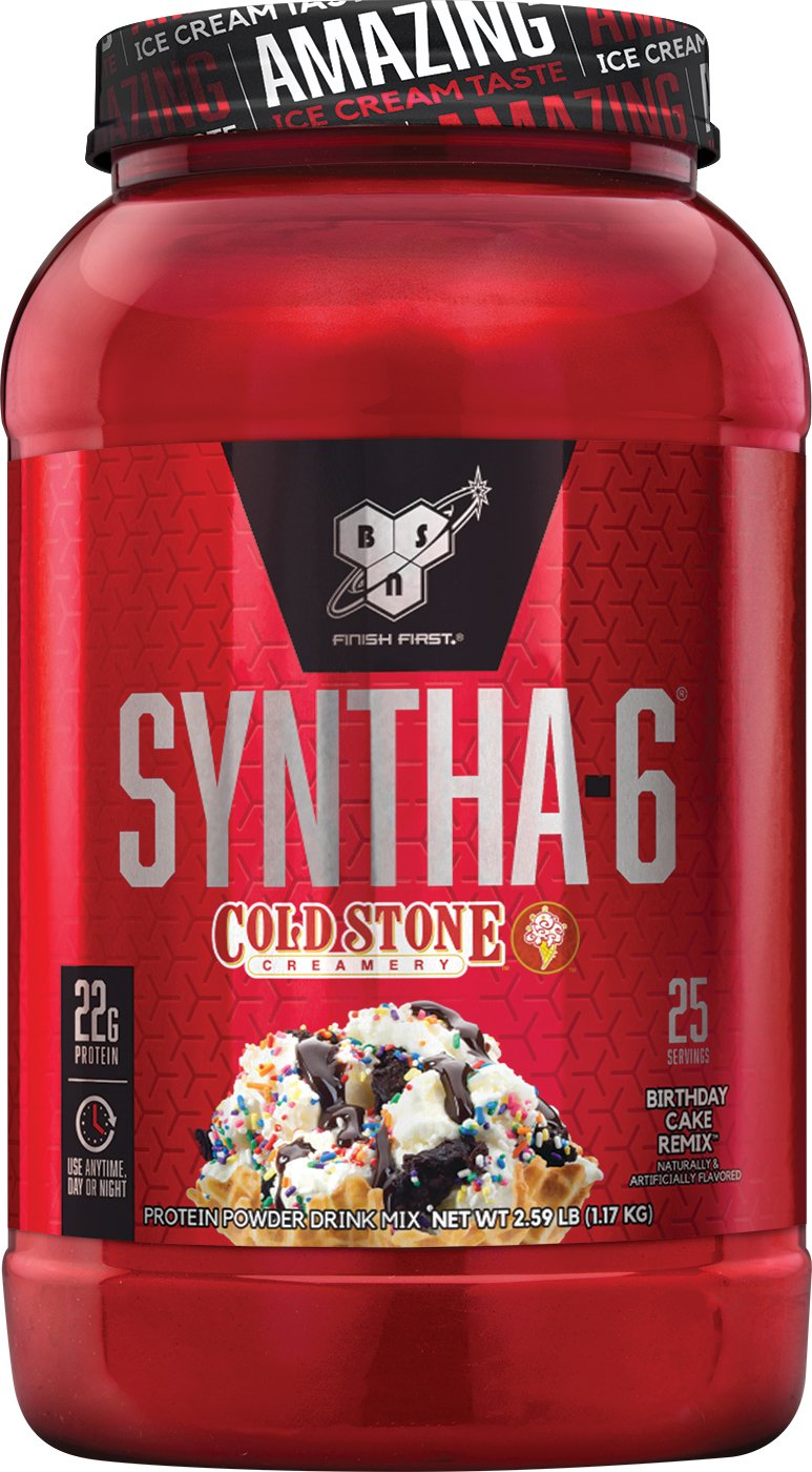 BSN Syntha 6 Whey Protein Powder Cold Stone Creamery Birthday Cake Remix Flavor Micellar Casein Milk Isolate 25 Servings