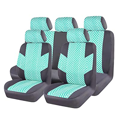 CAR PASS HOMESTYLE Linen Universal Fit car seat Covers with Opening Holes for headrest and seat Belt,Airbag Compatiable (Black with Green): Automotive