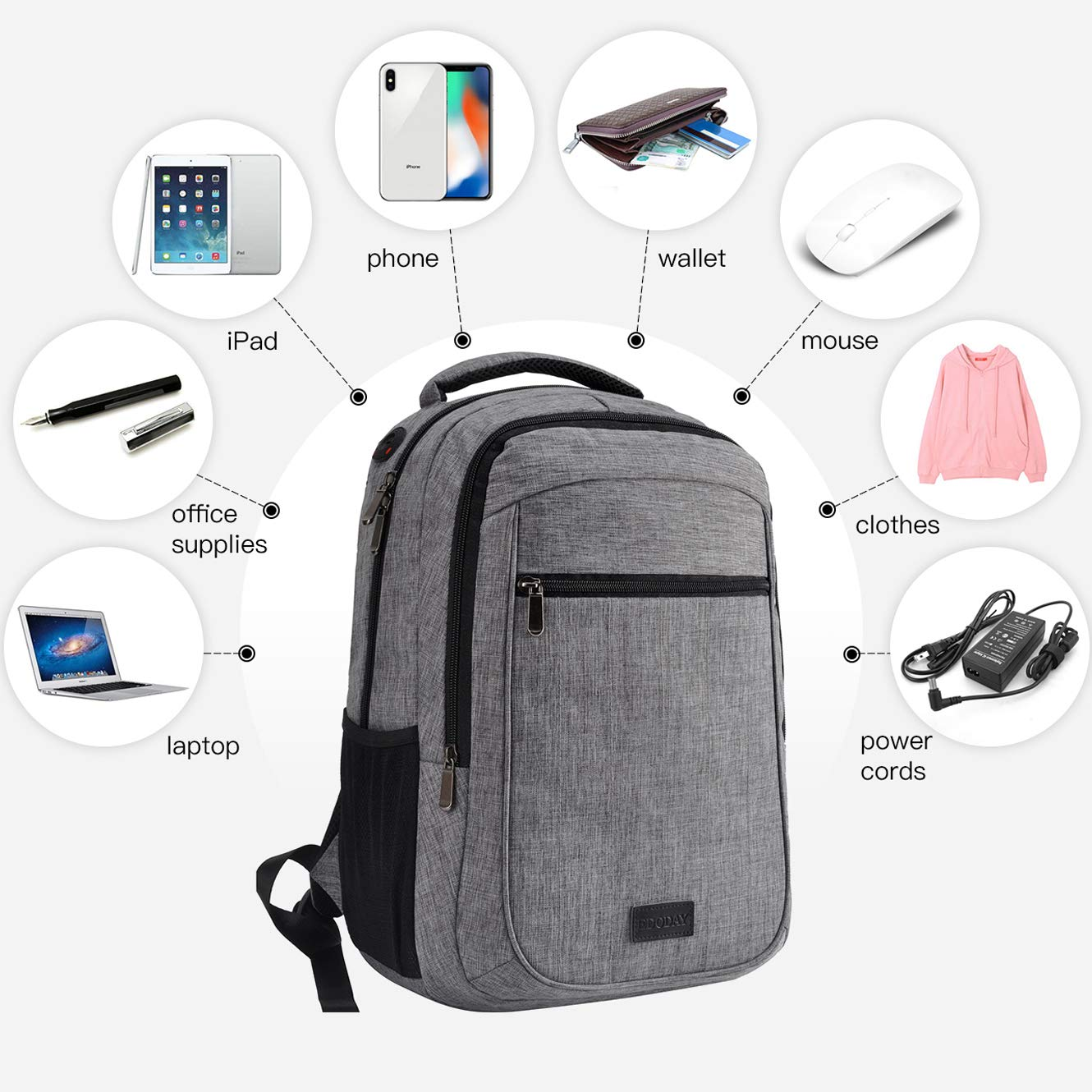 School Backpack,Fit 15.6 Laptop Backpack for College Student,Travel Backpack with USB Port[L0001/Gray+Pouch]