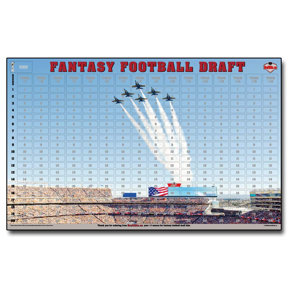 2019 Fantasy Football Draft Kit - Standard 1 x 2 625 Player Labels and 30 x  48 Full Color Draft Board