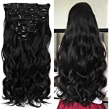 """Neverland Beauty 22""""7 Pcs 16 Clips Clip in Full Head Wavy Curly Hair Extensions"""