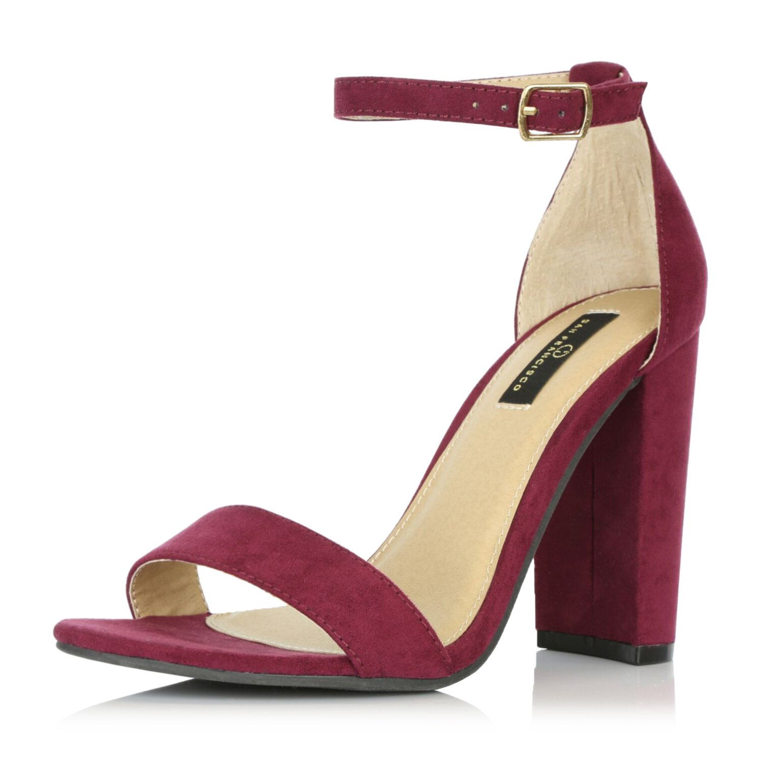 DailyShoes Women's Chunky Stacked Heel Sandal Open Toe Classic Wedding Pumps with Buckle Ankle Strap Casual Sandals Shoes, Wine Suede, 7 B(M) US