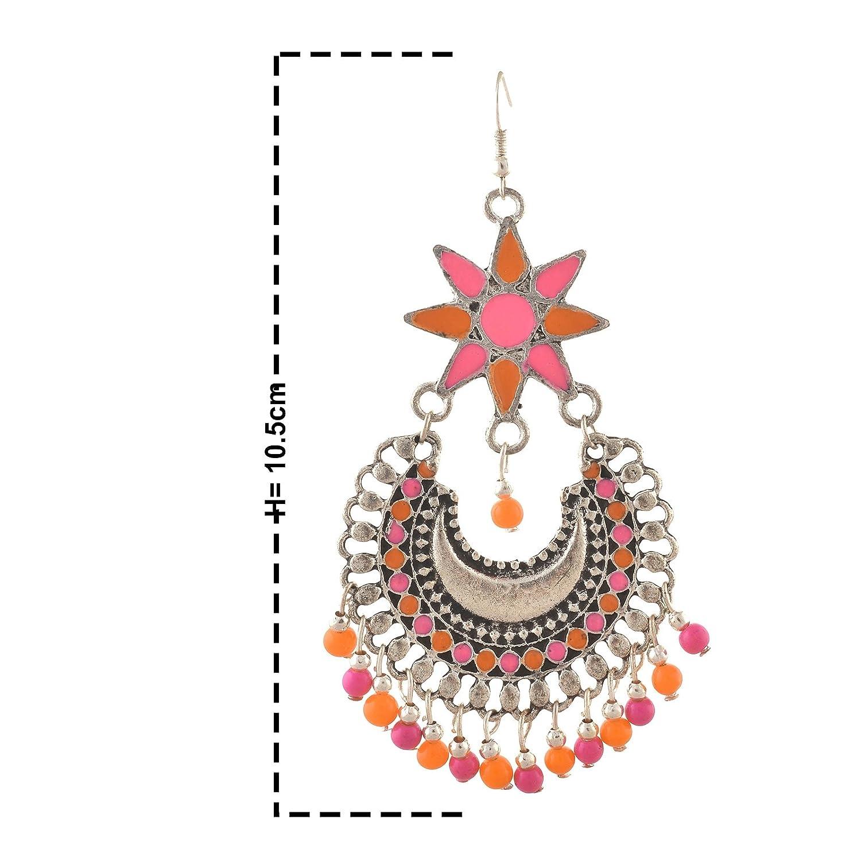 Zephyrr Fashion German Silver Afghani Floral Dangler Hook Chandbali Earrings For Girls and Women