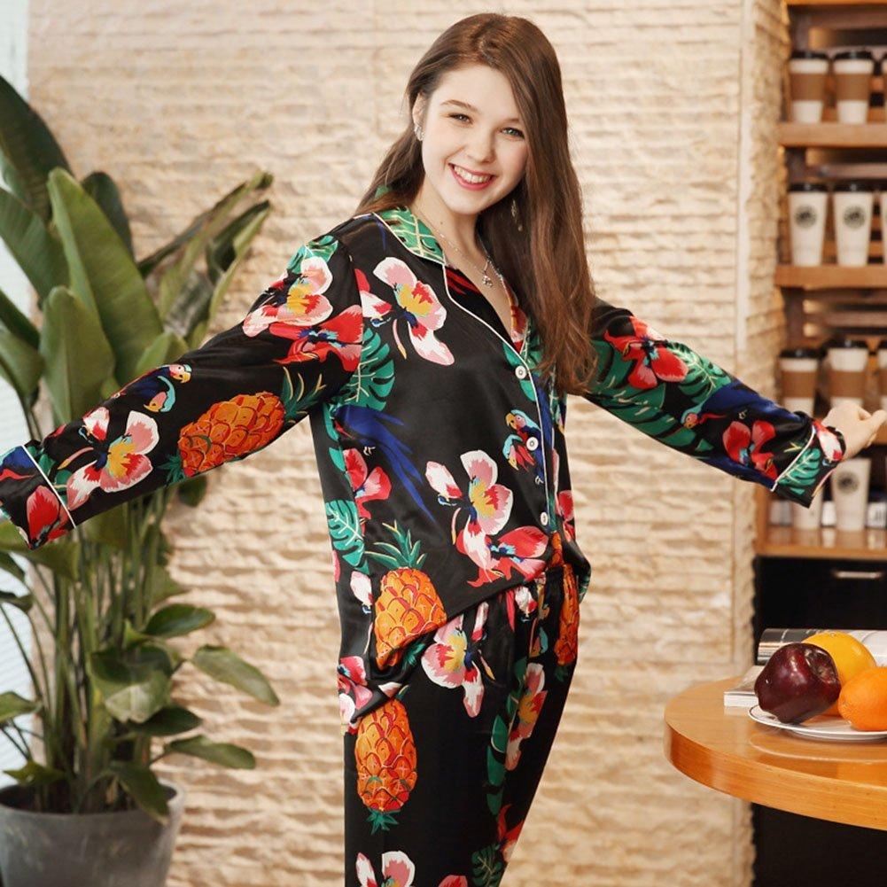 ccc3630bf2 Mujer Pijama 2 Piezas Satén Camiseta Raso Prenda Manga Larga Patrón Impreso  Ropa Dormir  Amazon.es  Ropa y accesorios