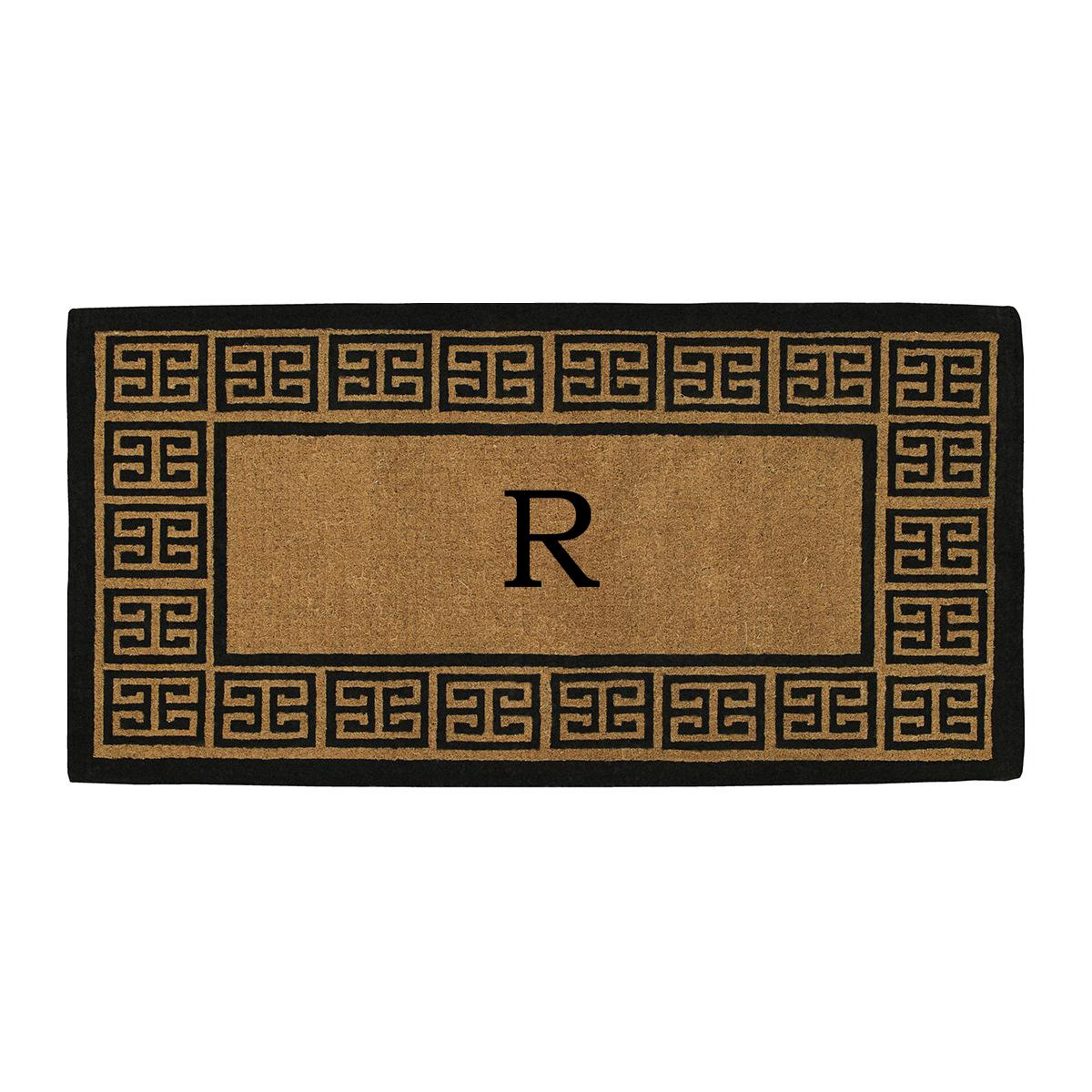 Home & More 180093672R The Grecian Extra-thick Doormat, 36'' x 72'' x 1.50'', Monogrammed Letter R, Natural/Black