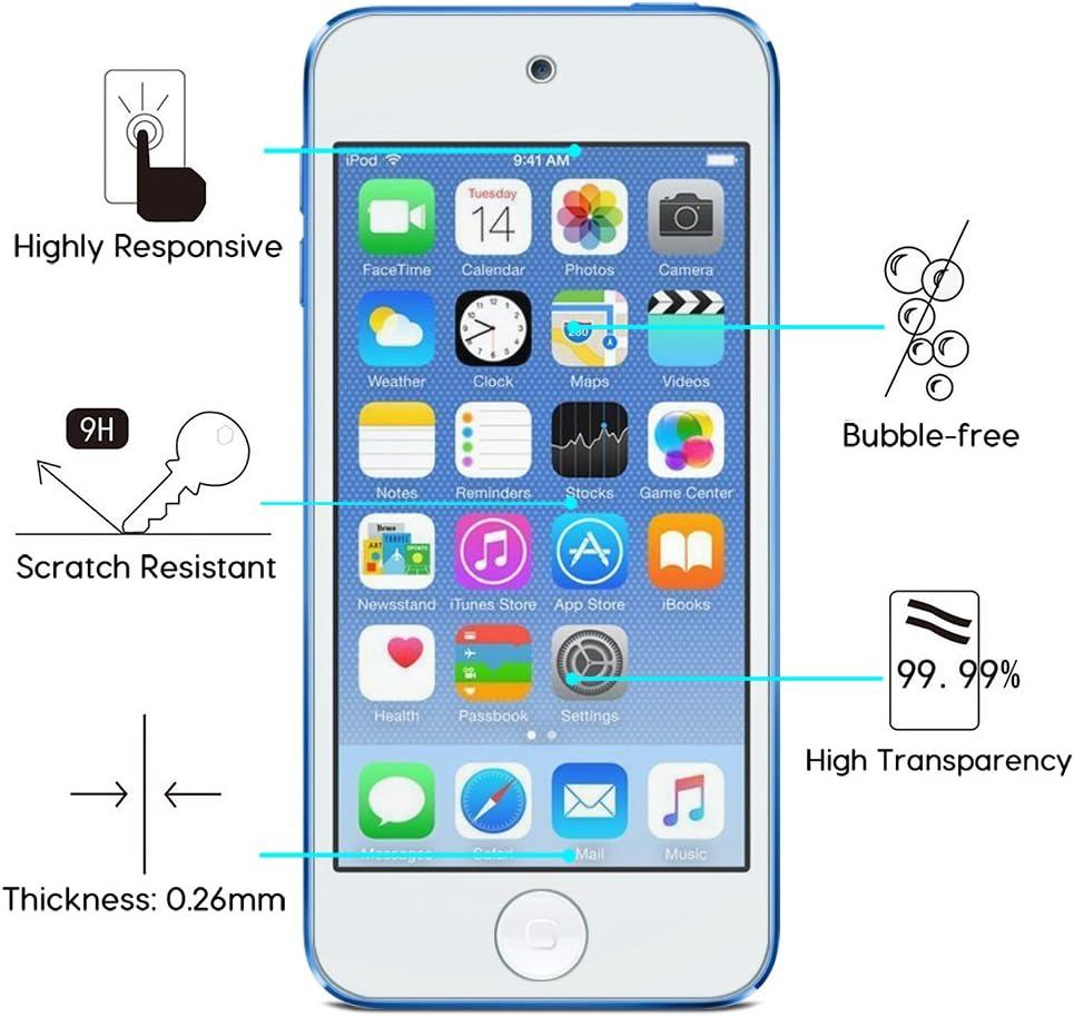 2/unidades 6/ª/generaci/ón 0,2/mm OMOTON 3306811/Cristal templado ultrafino protector de pantalla para iPod Touch