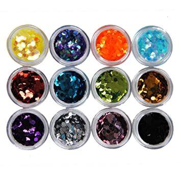 Amazon Coscelia 12 Big Hexagon Glitter Nail Art Deco Kit