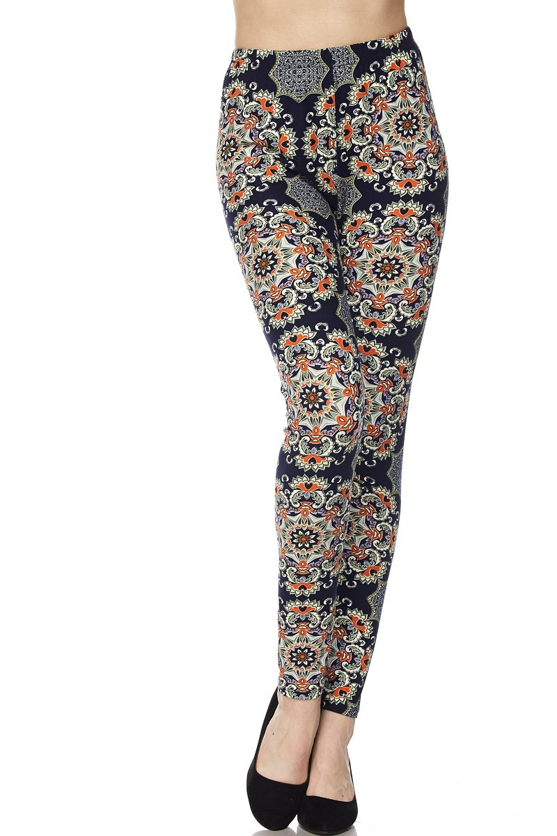 PALI USA Womens Soft Stretch Variety Pattern Printed Brushed Leggings Pants (Mandala Navy, Plus Size(12-24))
