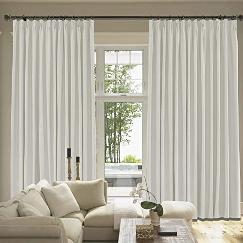 cololeaf Extra Wide and Long Drape Solid Cotton Linen Blend Curtain Blackout Curtain Pinch Pleated Bedroom Living Room Sliding Door Panel