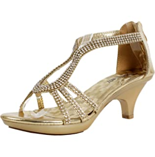 Amazon.com | Delicacy Womens Strappy Rhinestone Dress Sandal Low ...