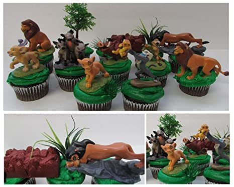 LION KING 11 Piece Birthday CUPCAKE Topper Set Featuring Simba Nala Scar Timon