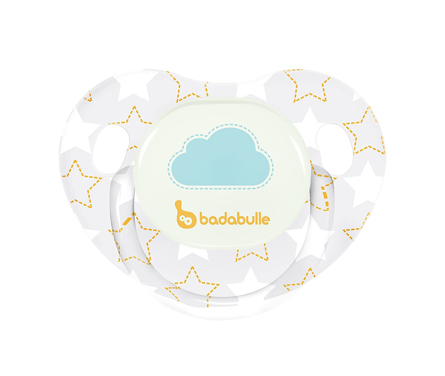 Badabulle Glow In The Dark Physiological Pacifiers, 12 to 36 Months, White Stars, Pack of 2 BABYMOOV UK LTD B011222