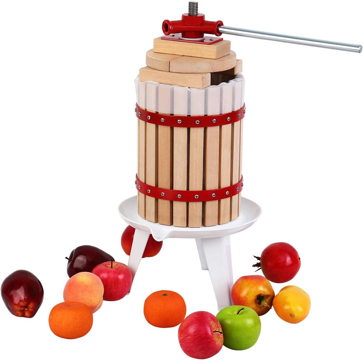 XuanYue 1.6 Gallon Manual Fruit Wine Press with 8 Blocks 100% Nature Oak, Cider Apple Grape Berries Crusher Juice Maker