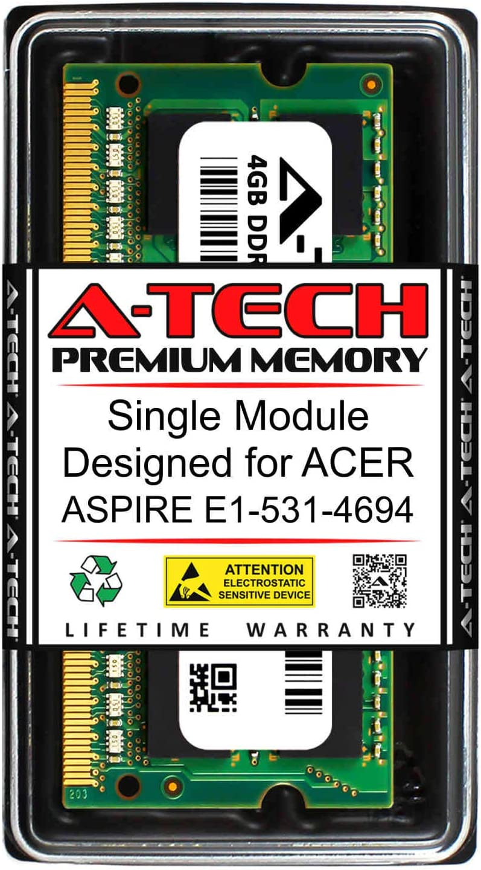 A-Tech 4GB RAM for ACER Aspire E1-531-4694 | DDR3 1333MHz SODIMM PC3-10600 204-Pin Non-ECC Memory Upgrade Module