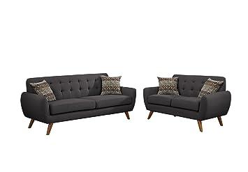 Amazon Com Poundex F6913 Bobkona Sonya Linen Like 2 Piece Sofa And