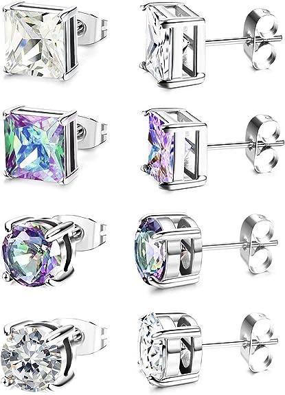 Milaculated 4 Pairs en acier inoxydable CZ Stud boucles doreilles pour hommes femmes Piercing Earrings Set 6-8mm