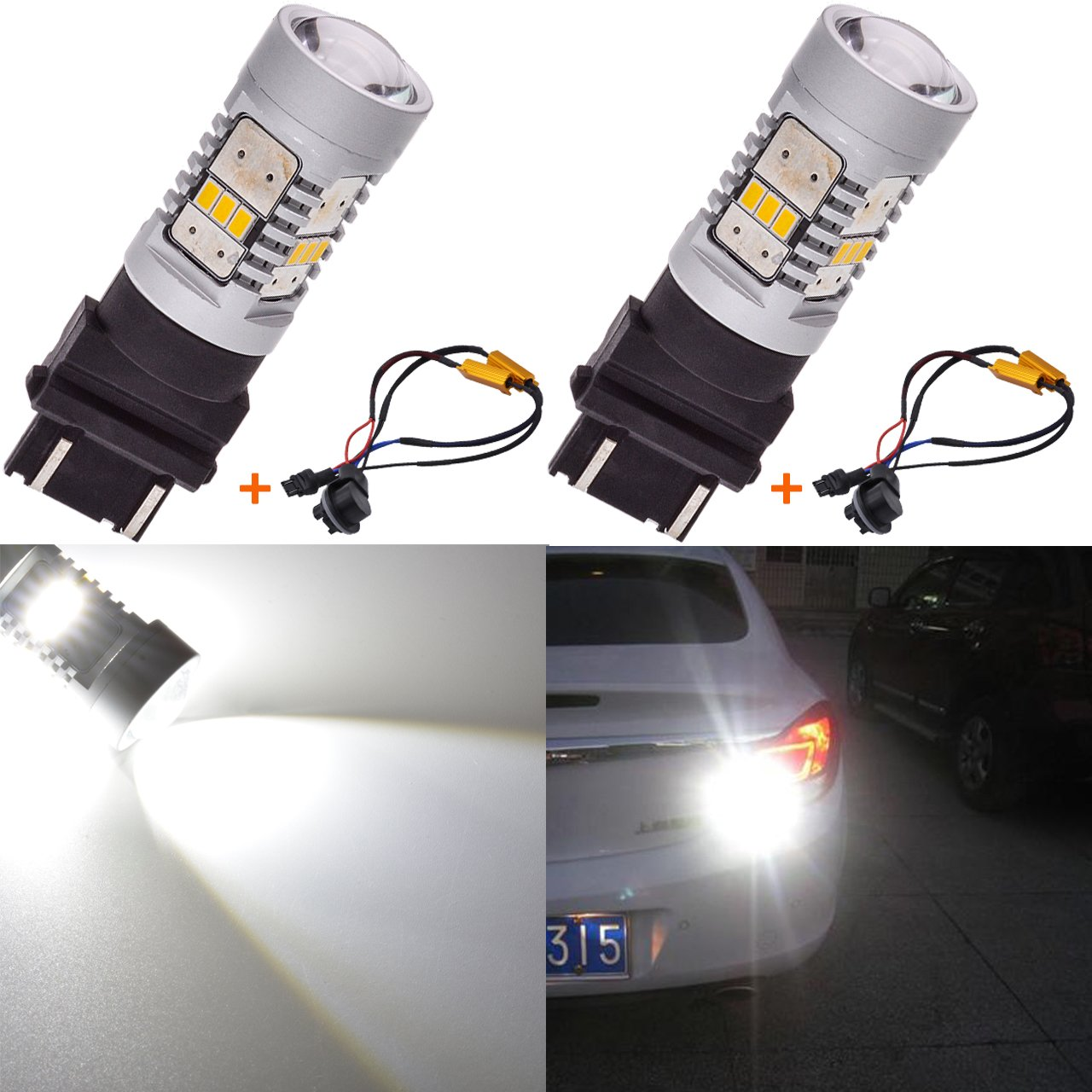 KaTur 1800LM White 7440 7440NA 7441 992 LED Replacement Bulb 14SMD CREE 3020 RV Camper SUV MPV Car Turn Signal Bulbs Tail Brake Light Lamp Backup Lamps (Pack of 2) 2AM-CL-1241-7440-White
