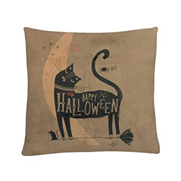 MAYUAN520 Cojines Decoración Algodón Funda de cojín animales Gatos Negros Pillowcovers para sofá cama silla asiento de coche Cojines casos 45*45cm: ...