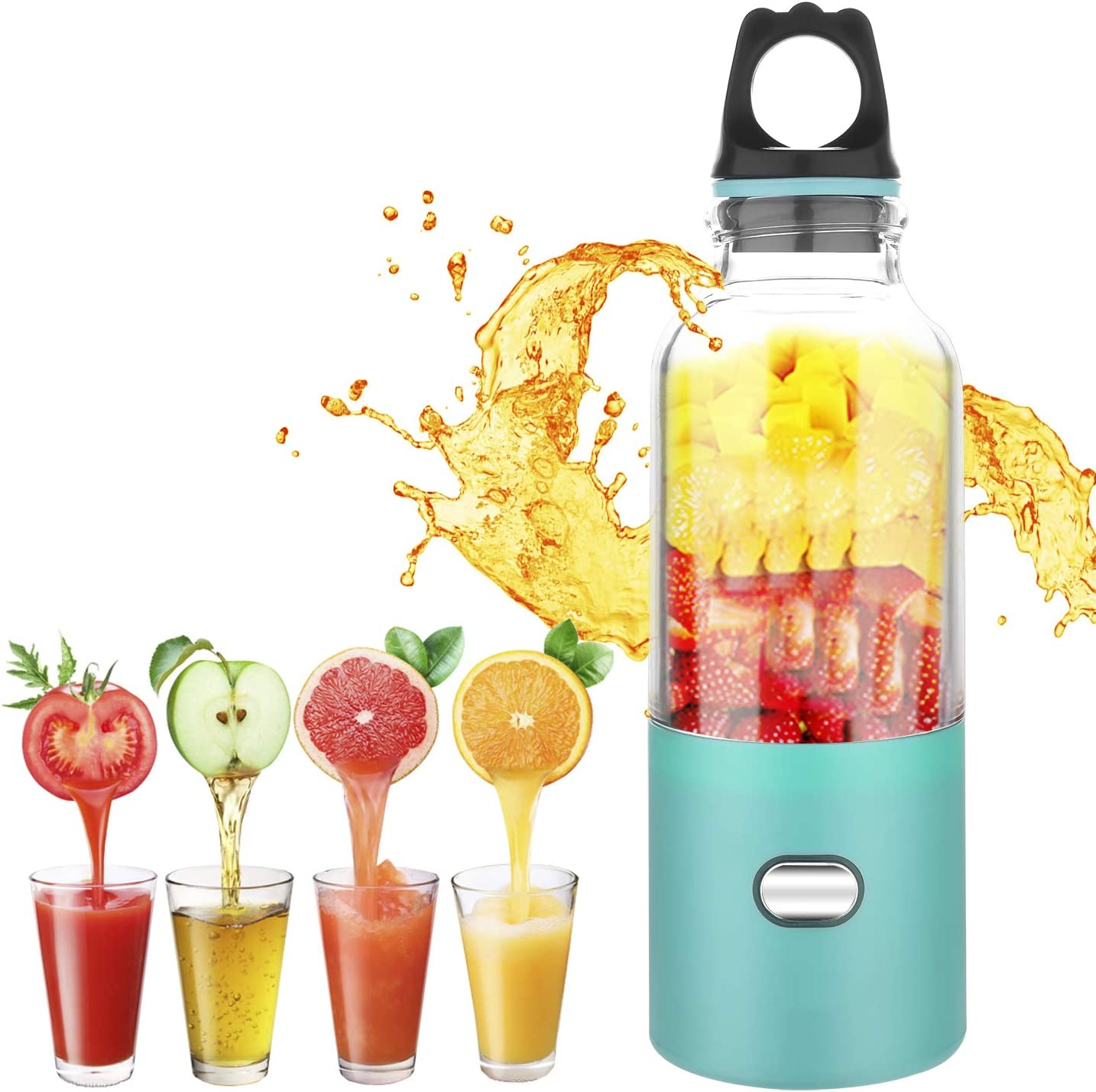 Portable Juicer Blender, XBrands Mini Travel Blender,USB Rechargeable Juicer Cup,Household Fruit Mixer, Personal Size Mixing Machine with Six Blades, Small Size Easy to Carry – Small Ice Cubes Become Smaller