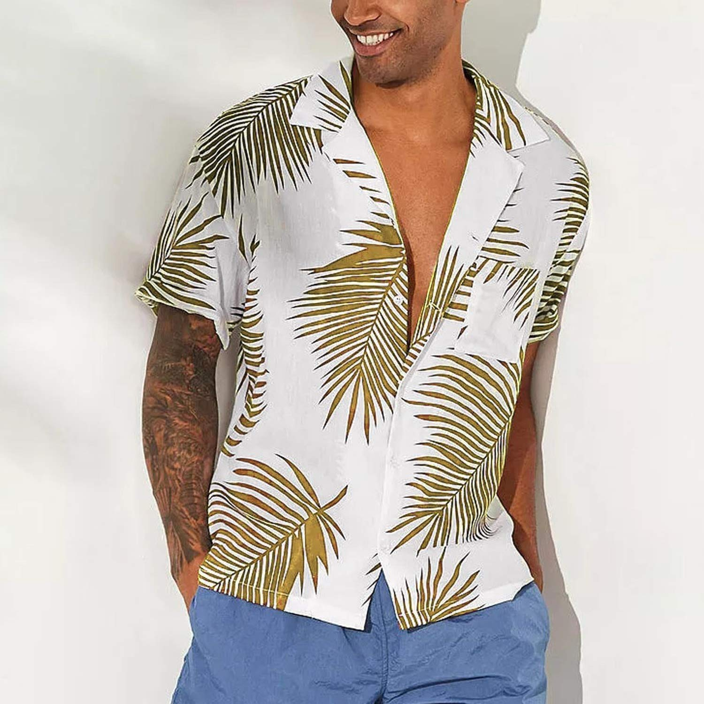 FRE4D3 Hawaiian Shirt Mens Chemise Summer Button Hawaii Print Beach Pocket Short Sleeve Quick Dry Top Blouses Men 2019,Navy,XXL,China