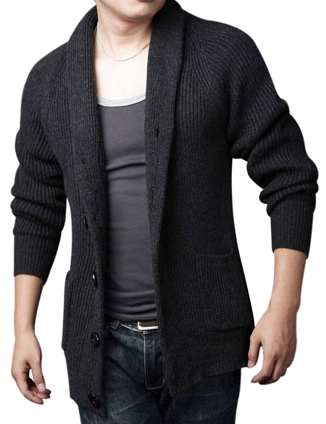 44127ec46b Yeokou Men s Casual Slim Thick Knitted Shawl Collar Cardigan Sweaters  Pockets