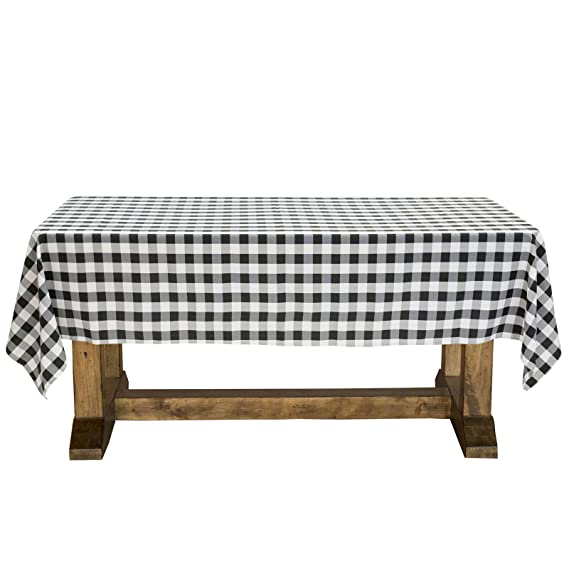 "Lann's Linens - 60"" x 102"" Premium Checkered Tablecloth - Rectangular Polyester Fabric Picnic Table Cover - Black & White Gingham Cloth"