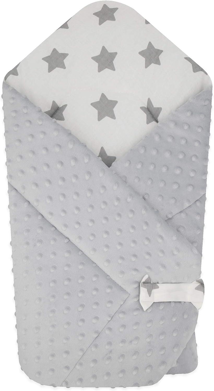 BlueberryShop polar Minky manta reversible para envolver al bebé | Saco de dormir para bebés recién nacidos | Para bebés de 0-3 meses | Regalo perfecto para Baby Shower | 78 x 80 cm | Blanco Gris