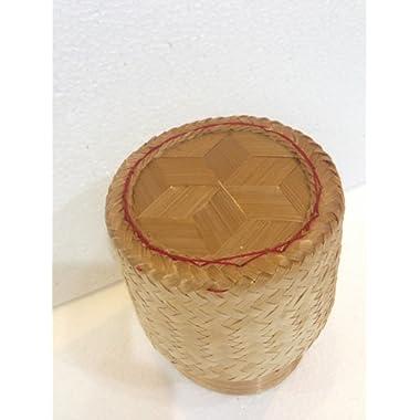 Thai Handmade Sticky Rice Serving Basket Medium Size 6.6x3.5x5