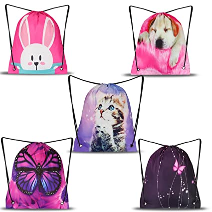 AUPET Party Favors Bags 5 Pack Designs Gift Candy Drawstring Backpack BagsTreat