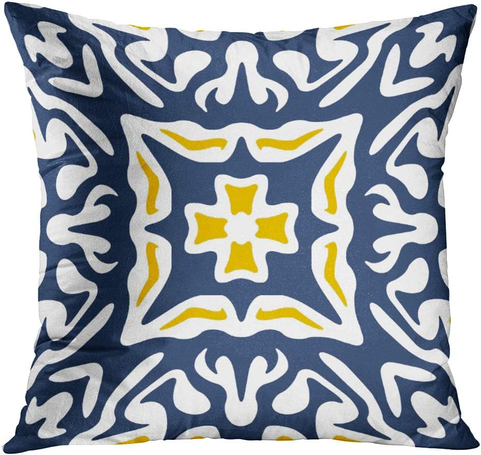 Amazon Com Emvency Throw Pillow Cover Blue Chic Navy And Yellow Mediterranean White Spanish Decorative Pillow Case Home Decor Square 18 X 18 Inch Pillowcase Home Kitchen
