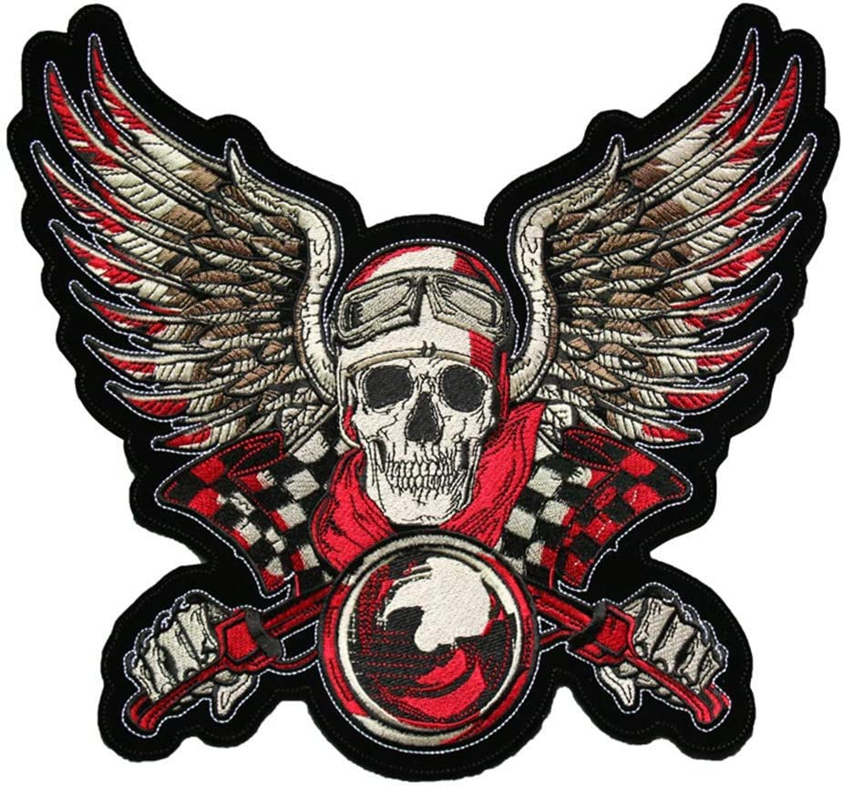 OYSTERBOY Large Rider Embroidered Skull with Wings and Glasses on Bike Patch