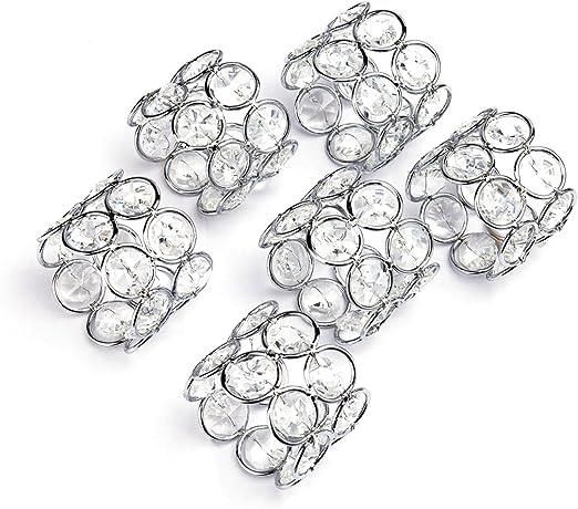 Lot de 6 argent cristaux napkin rings...