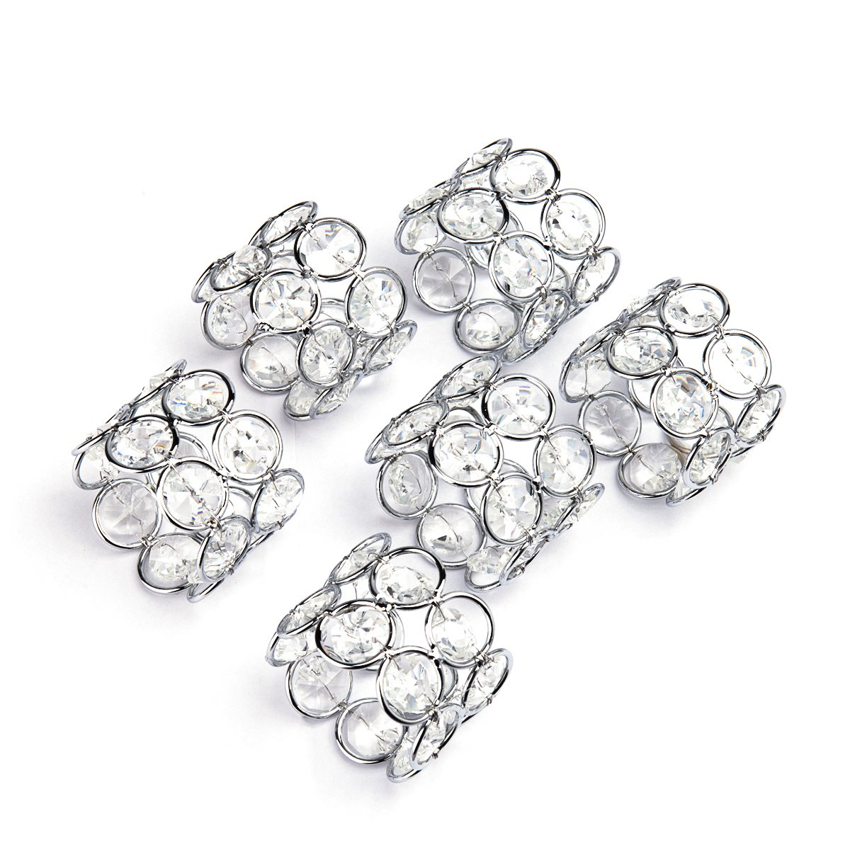 Feyarl Handmade Napkin Rings Sparkly Crystal Beads Napkin Holders Set of 6 pcs for Wedding Centerpieces Party Dinnier Special Occasions Celebration Romantic Candlelit Banquet