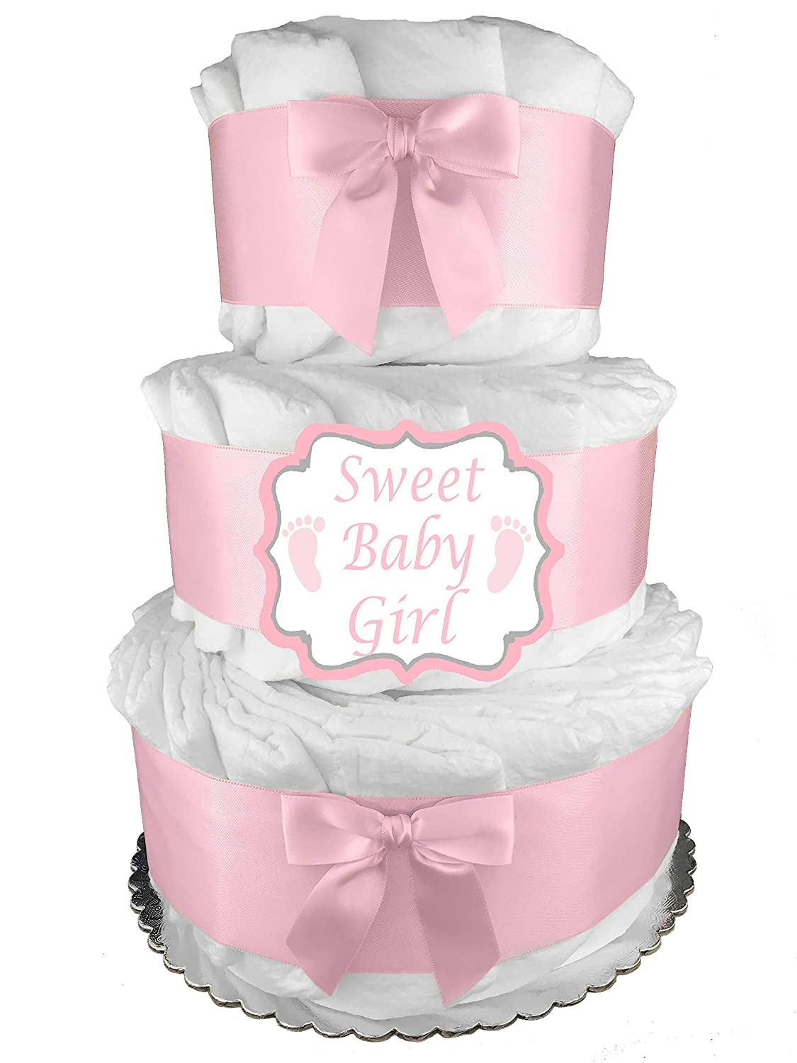 Pink It s a Girl 3-Tier Diaper Cake – Baby Shower Gift – Centerpiece