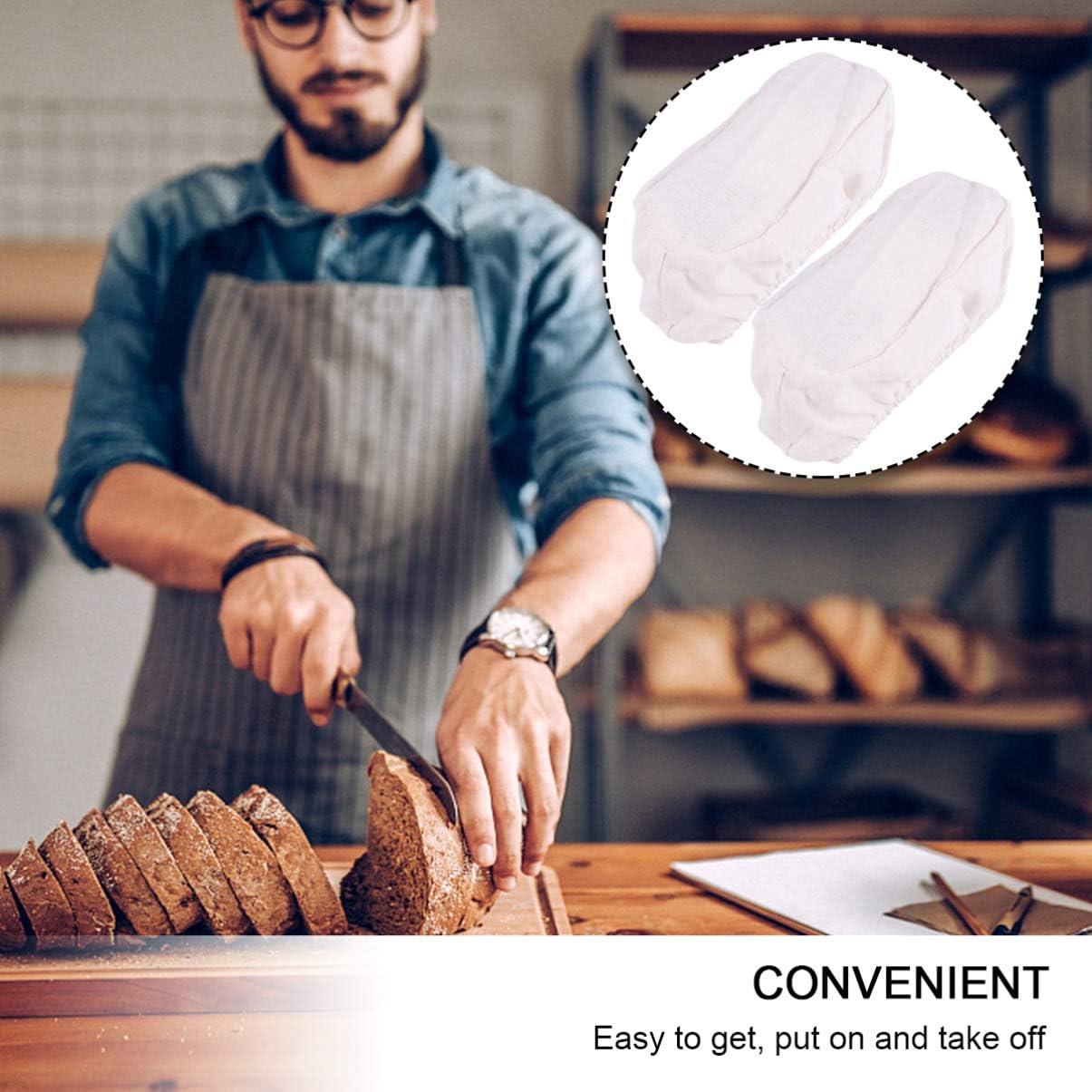 Hemoton 2 Pezzi Cestino per Lievitazione del Pane Fodera per Pasta di Stoffa Cestino per Lievitazione del Pane Fodera per Pasta Acida Coperchio per Cestino del Pane Forniture per La