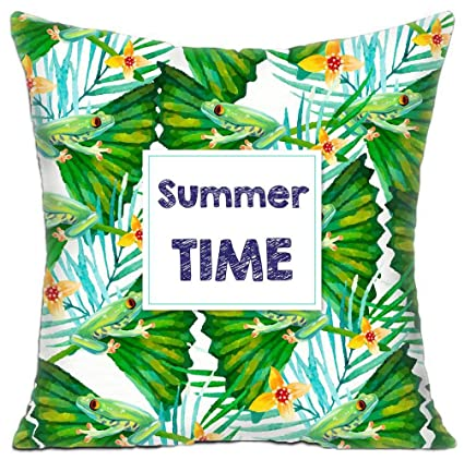 Custom Square Sofa Cushion Covers Summer Time Two Sides Print Throw Pillow  Cases 16x16