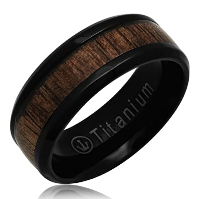 Crown Rings Men Women Black Titanium Ring Wedding Band Real Wood Inlay In Comfort Fit