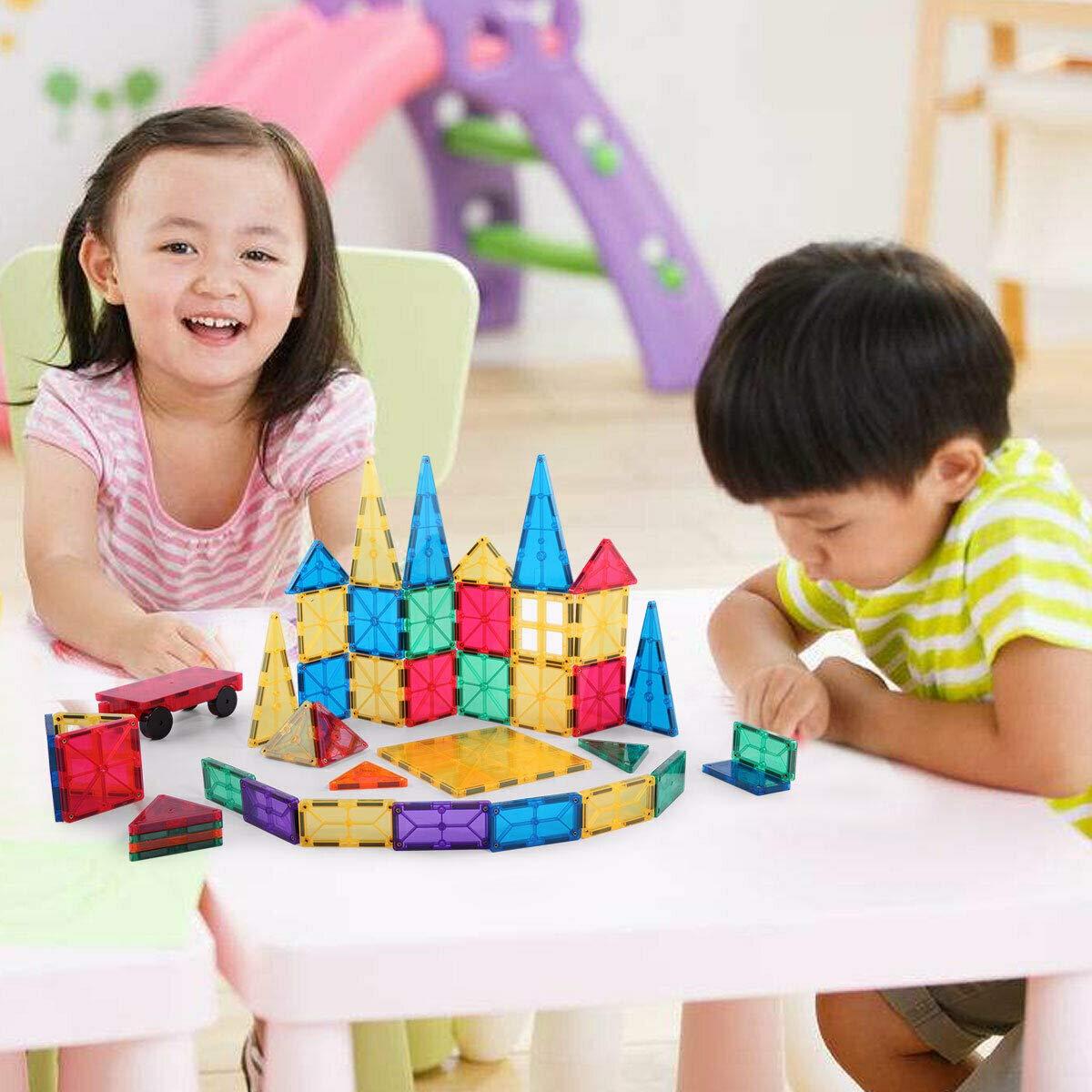 100 Piece Set Clear Magnet Building Tiles Magnetic 3D Building Blocks Construction Preschool Educational Toy Kit for Kids