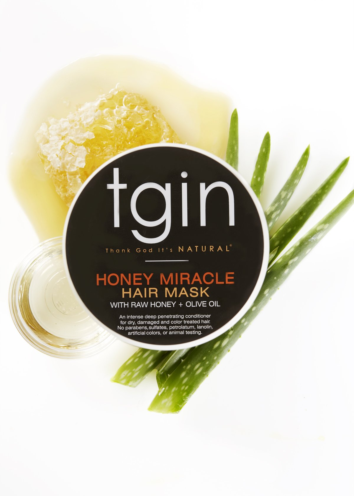 tgin Honey Miracle Hair Mask (12oz), Deep Conditioner for Natural Hair with Raw Honey & Olive Oil by Thank God It's Natural (Image #4)